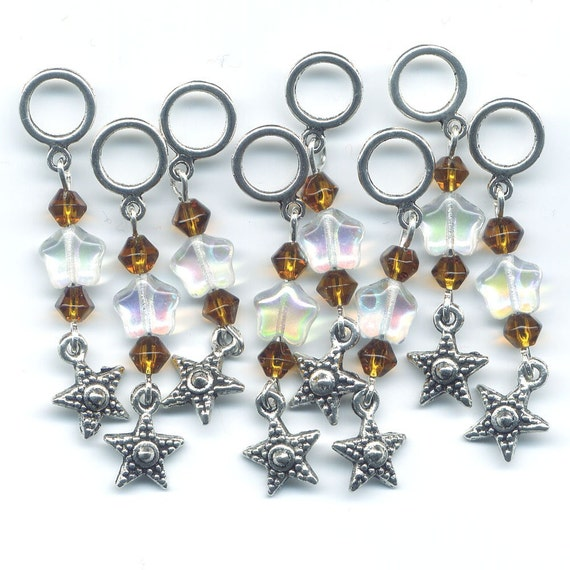 Star Stitch Markers Twinkle Stars Crystal AB Stitch Markers set of 8 /SM17