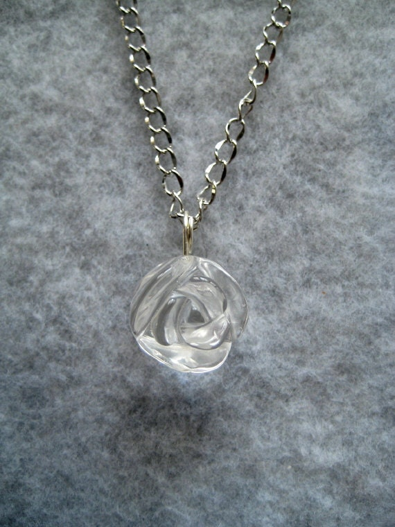Crystal Carved Rose Necklace