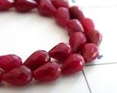 Ruby Briolette Gemstone Huge Faceted 3-D Teardrop Pear Briolette Center Drilled 12mm Set of 6 beads