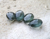 Moss Aquamarine Gemstone AAA Faceted Teal Teardrop Briolette Large 10.5 to 12mm Set of 4