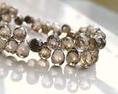 Smoky Quartz Gemstone Briolette Champagne Chocolate Brown Faceted 3d Teardrop 7.5mm 1/3 Strand 20 beads