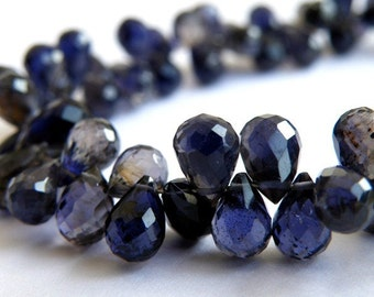 Iolite Gemstone Briolette Faceted Teardrop Top Drilled 7.5 to 8.5mm 29 beads