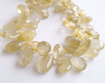 Rutilated Quartz Briolette Gemstone Golden Faceted Pear Teardrop 11 to 11.5mm 11 beads