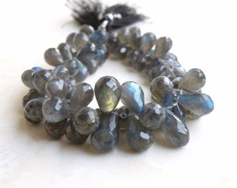 Labradorite Gemstone Briolette AAA Grey Faceted Teardrop Drilled 8 to 9.5mm 80 beads