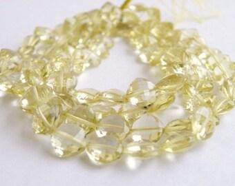 Lemon Quartz Gemstone Briolette Checkerboard Faceted 8 to 9mm 8 beads