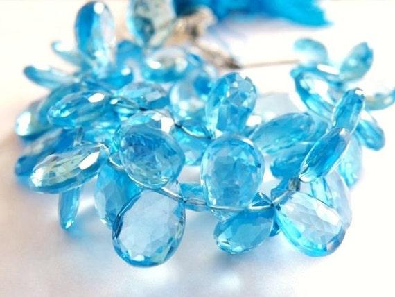 Swiss Blue Topaz Briolette Gemstone Faceted Pear Teardrop 10mm Set of 3 beads