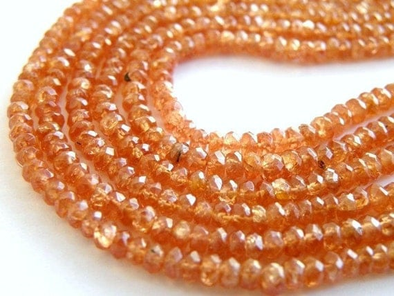 Sunstone Rondelle Gemstone Champagne Peach Faceted 3mm Set of 60 beads