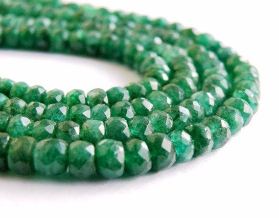 Emerald Beryl Rondelle Gemstone Rich Green Faceted Rondel 4.5 to 5.5mm, Set of 60 beads