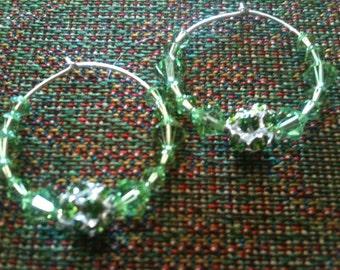 Sterling Silver Peridot Swarovski Crystal Hoop Earrings