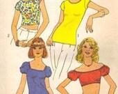 Simplicity 6902 Vintage 1975 Ladies One-Yard Stretch Knit Tops SZ 14 - 16, B 36 - 38