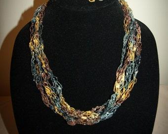 Fall festive sparkle ladder trellis ribbon necklace