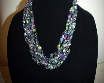 Pastels ladder trellis ribbon yarn necklace