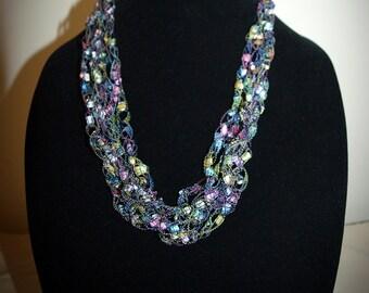 Pastels ladder trellis ribbon yarn necklace