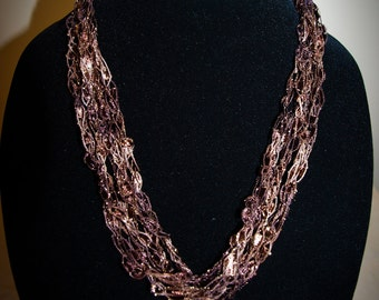 Chocolate brown/gold ladder trellis ribbon necklace