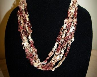 Adjustable Rose/blush/gold sparkle ladder trellis ribbon necklace