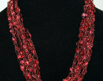 Red/Pink/Gold mini ladder trellis ribbon necklace