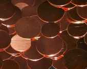 Copper Discs  - 20 Gauge, stamping blanks, metal blanks, stamping discs, stamping disks round blanks, Bopper