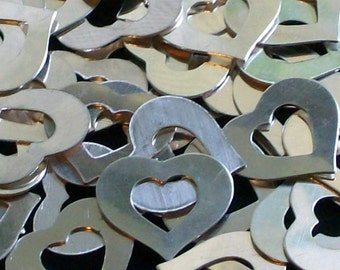 Sterling Silver Heart  Washer - 22 gauge - Qty 1, silver blanks, stamping blanks, metal blanks, Bopper, stamping supplies, heart washers