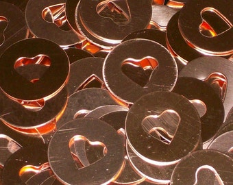 Copper Heart Discs, stamping blanks, metal blanks, copper rounds, heart cutouts, Bopper, copper discs, copper disks, hand stamping blanks