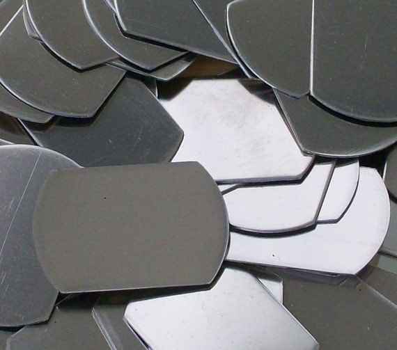Nickel Silver Plain Dog Tags - Qty 3, Metal Stamping Blanks, army tags, military tags, Bopper, hand stamping blanks