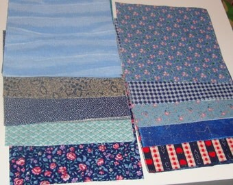 30 6 Inch Quilt Squares Assorted Blue Prints