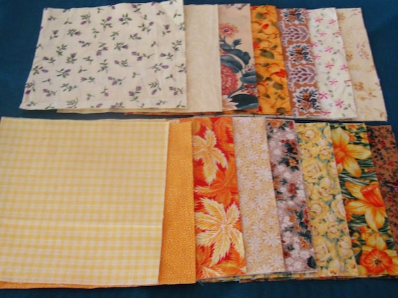 75 3 Inch Quilt Squares Assorted YELLOW Prints