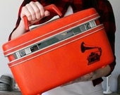 UPCYCLED Bright Orange VINTAGE Train Case with Antique Phonograph in black ink