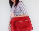 Dark Red Marbled VINTAGE Messenger Bag Pick Your Poison LUGGAGE