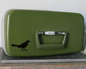 UPCYCLED Olive Green VINTAGE Train Case with Crow and NOT ALL WHO WANDER ARE LOST Quote LUGGAGE