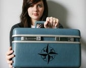 UPCYCLED Blue Grey VINTAGE Train Case Luggage with Black COMPASS ROSE