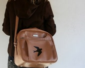UPCYCLED Brown VINTAGE Messenger Bag with Black Swallow Bird LUGGAGE