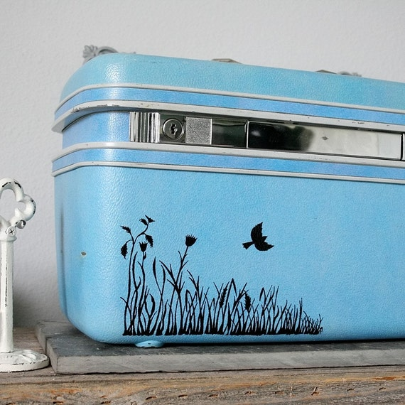 UPCYCLED Blue VINTAGE Train Case with Grass Flowers and Single Bird LUGGAGE