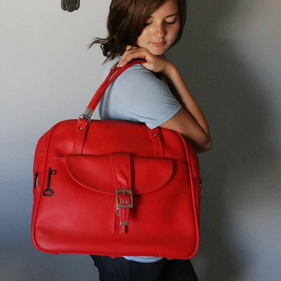 UPCYCLED Cherry Red VINTAGE Tote with Black Skeleton Key LUGGAGE