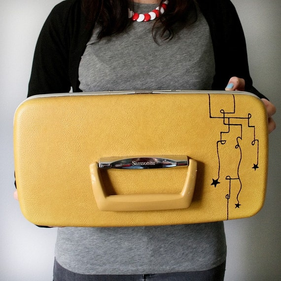 UPCYCLED Mustard Yellow VINTAGE Train Case with Black Pipes and Stars