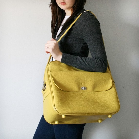 VINTAGE Bright Yellow MESSENGER Bag Pick Your Poison LUGGAGE
