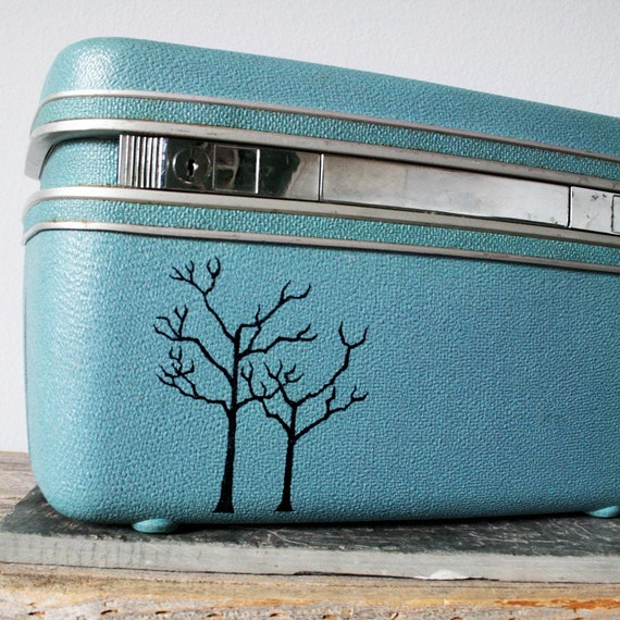 UPCYCLED Dark Robin Egg Blue VINTAGE Train Case with 2 Black Trees LUGGAGE