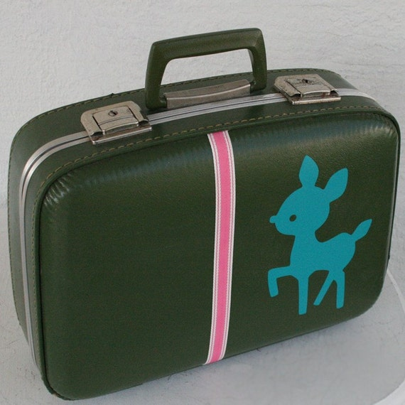 UPCYCLED Avacado Green Small VINTAGE Suitcase with Teal Doe and Pink with WHite Sport Ribbon Tape