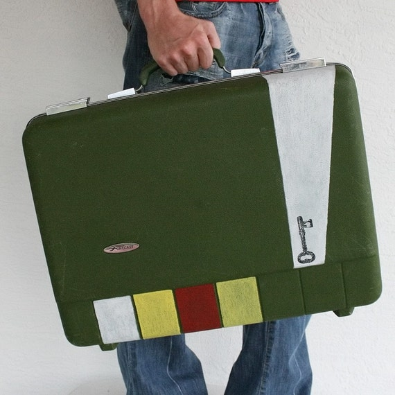 UPCYCLED Green -Forecast- VINTAGE Hard Suitcase with white stripes skeleton key and red and yellow handpainted squares