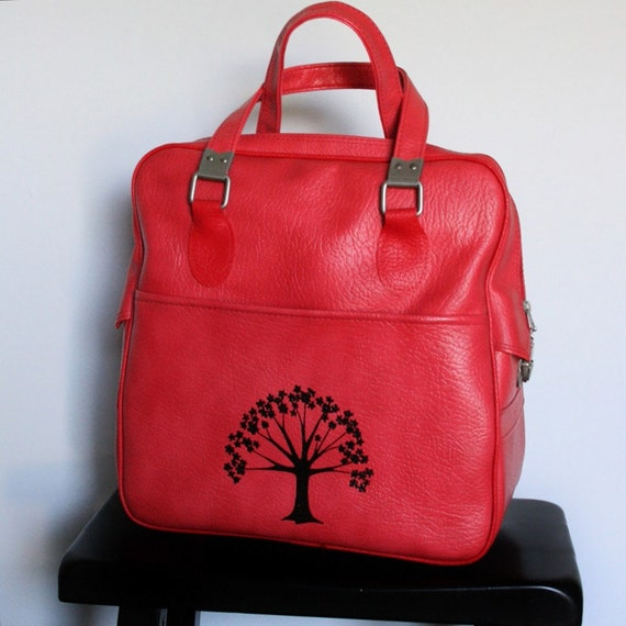 UPCYCLED Pale Red VINTAGE Tote Bag with Cherry Blossom Tree by Elephannie