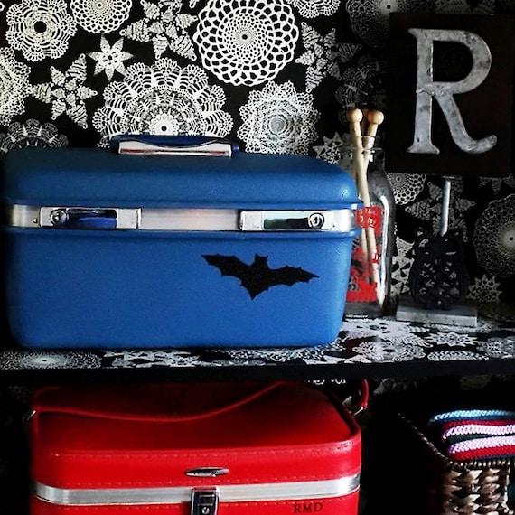 Vintage Blue Train Case Luggage with Black Bats and Antique Skeleton Key