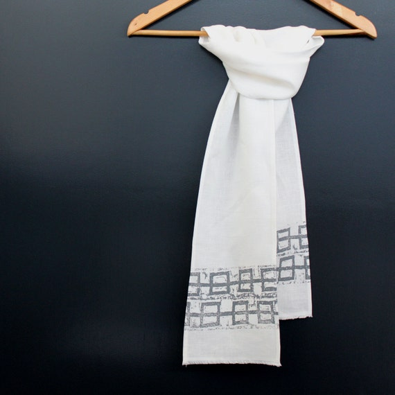 White Linen Scarf with Abstract Grey Geometric Print - 50% OFF CHRISTMAS SALE
