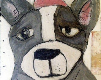 Dog with Pink Party Hat - Painting Collage