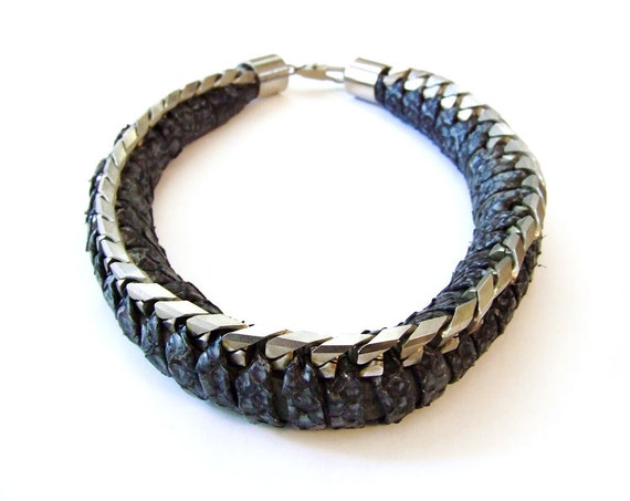 VTG 80's Italian Necklace - Signed Wilma Spagli Leather Snakeskin Suede Steel Chain Choker