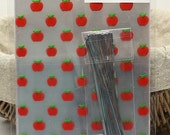 Japanese gift bag - red apple with ties and keeper (Heart in shape) - 20 bags