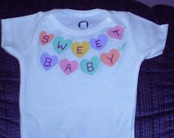 Candy Hearts Baby One Piece, Sweet Baby Girl Bodysuit, Valentines Day Outfit, Personalize It, First Valentines Day
