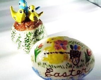 Vintage Hand Painted Ceramic Easter Eggs - Set of 2