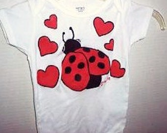 Ladybug Baby Baby Girl One Piece, Valentines Day Bodysuit, Ladybug and Hearts, Love Bug Bodysuit, Ladybug Clothing