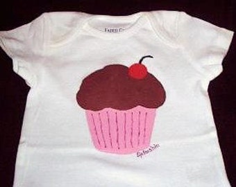 Cherry Cupcake Bodysuit, Cupcake With A Cherry On Top, Baby Girl One Piece