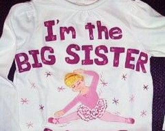 Personalized Big Sister Shirt  With Ballet  Theme