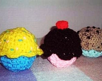 Crocheted Cupcakes - Set of 3